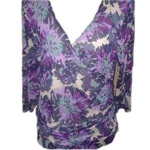 Elle purple blue wrap blouse